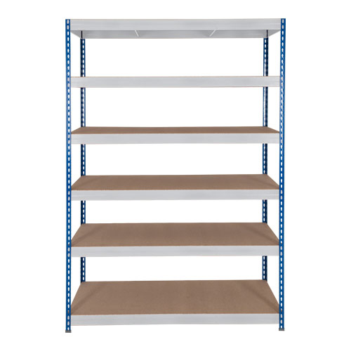 Rapid 3 Shelving (1600h x 1500w) Blue & Grey - 6 Chipboard Shelves