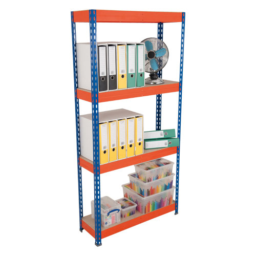 Rapid 3 Shelving (1800h x 1500w) Blue & Orange - 4 Chipboard Shelves
