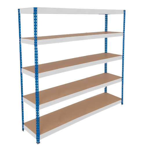 Rapid 3 Shelving (2000h x 2100w) Blue & Grey - 5 Chipboard Shelves