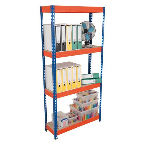 Rapid 3 Shelving (2200h x 900w) Blue & Orange - 4 Chipboard Shelves