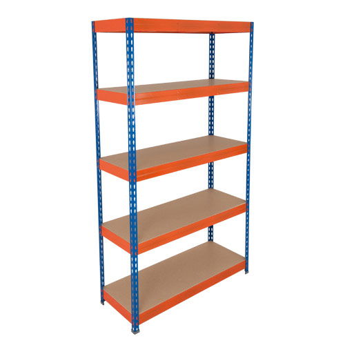 Rapid 3 Shelving (2200h x 900w) Blue & Orange - 5 Chipboard Shelves