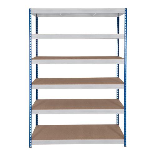 Rapid 3 Shelving (2200h x 900w) Blue & Grey - 6 Chipboard Shelves