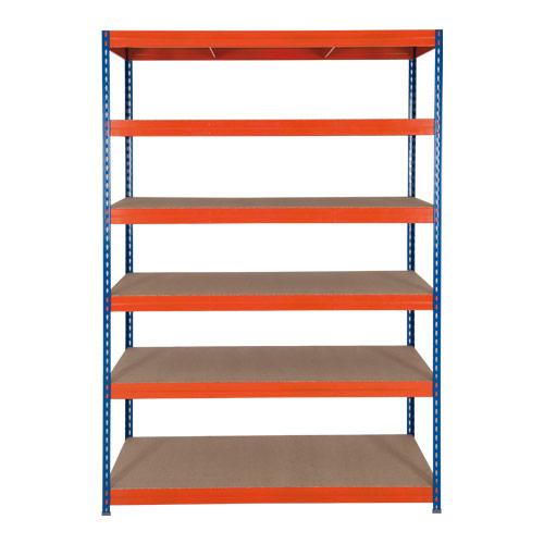 Rapid 3 Shelving (2200h x 1200w) Blue & Orange - 6 Chipboard Shelves