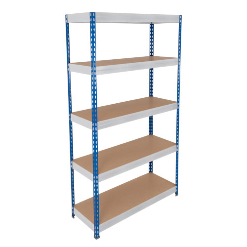 Rapid 3 Shelving (3000h x 2400w) Blue & Grey - 5 Chipboard Shelves