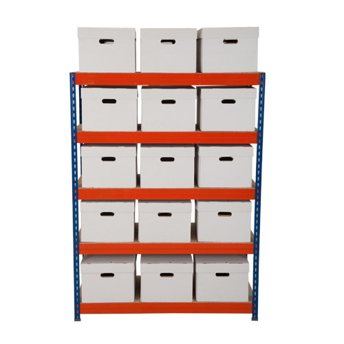 Rapid 3 Bay (1600h x 1200w) With 15 White Archive Boxes