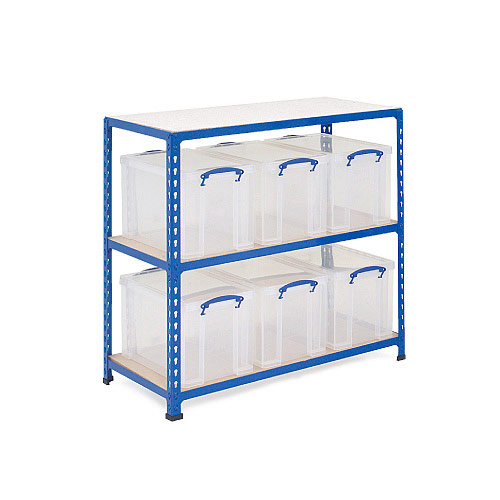 Rapid 2 Storage Bay - 6 x 84 Litre Really Useful Boxes  sc 1 st  Rapid Racking & Box Storage | 6 x 84L Box Storage Shelving Bay At Rapid Racking