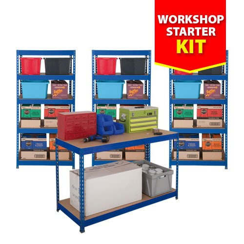 3 Budget Shelving Bays and 1 Workbench - Blue
