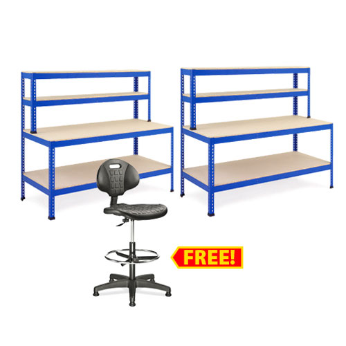 Workshop Deal - 2 Workbenches & Free Chair (2440w)
