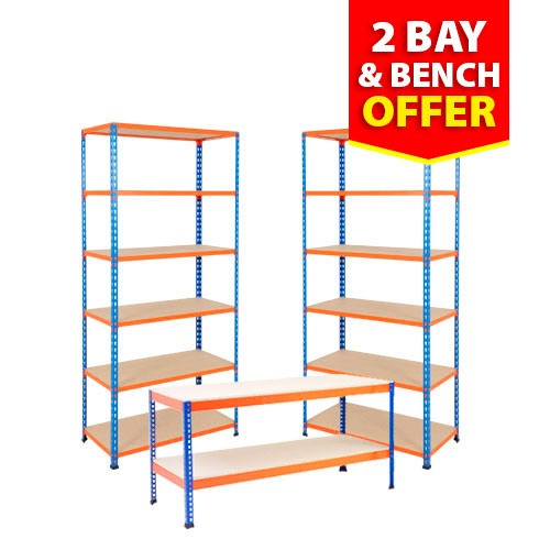 2 Bay and Bench Offer - Rapid 2 Shelving and Rapid 1 Workbench